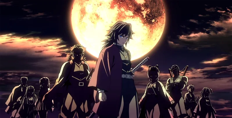 Demon Slayer characters under a full moon