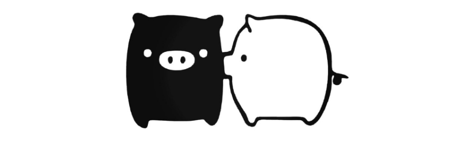 Monokuma boo black and white pigs kissing
