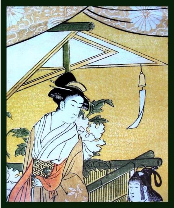 японська картина в традиційному стилі з вітряним дзвіночком