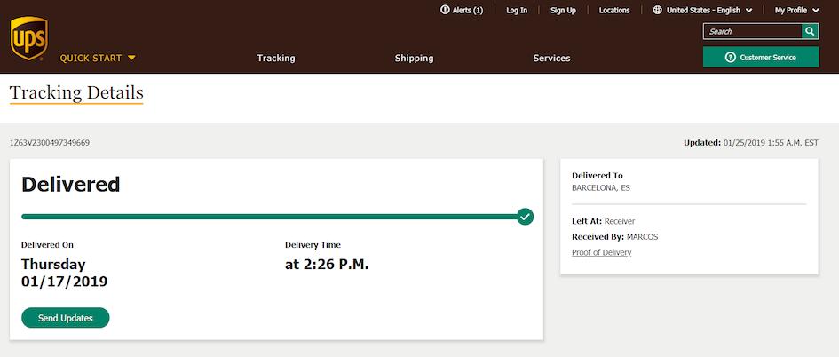 Seguimiento de un paquete de UPS desde Japon