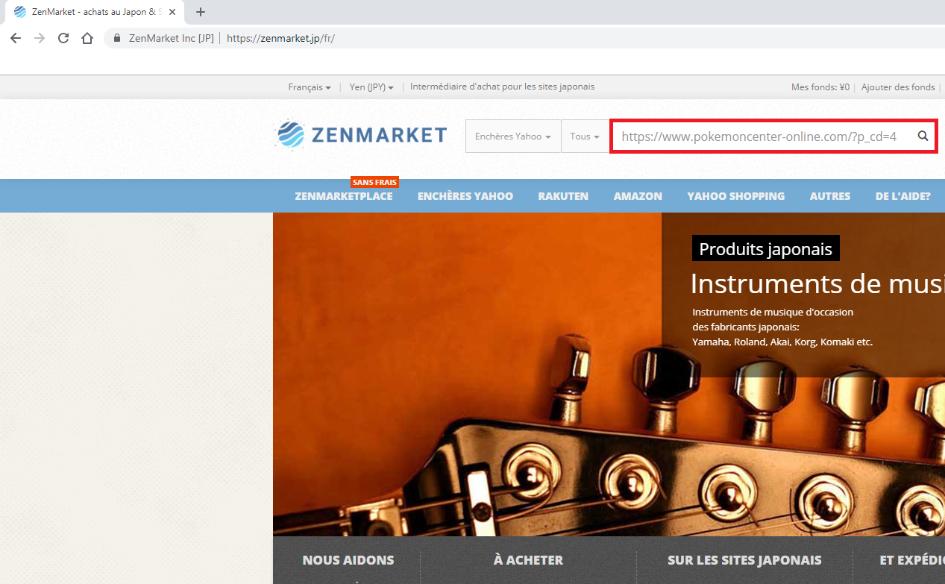 zenmarket - copier coller adresse produit