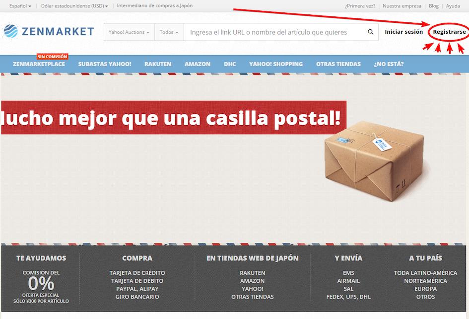 Registro a través de la página principal de ZenMarket