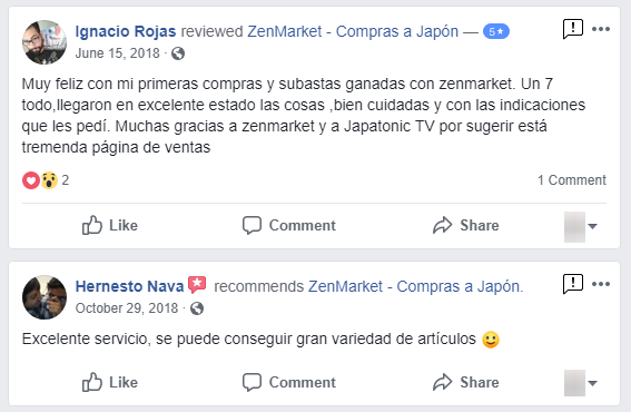 Comentarios en Facebook de clientes que confian en ZenMarket
