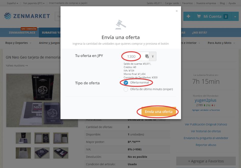 Poniendo una oferta en Yahoo Subastas Japón con ZenMarket