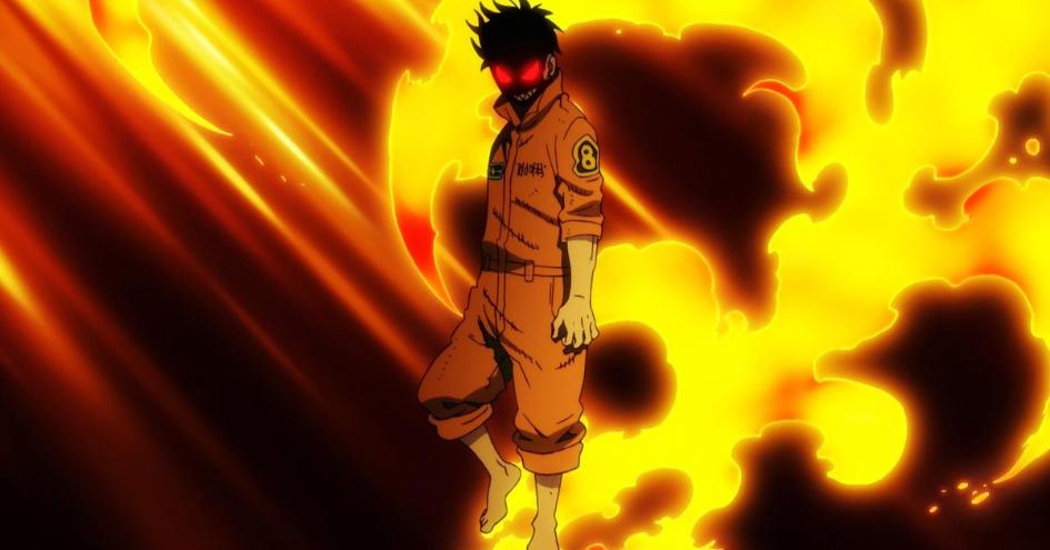 Shinra Kusakabe in flames