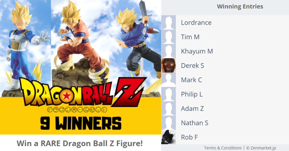 ZenMarketPlace's Dragon Ball Z Giveaway winners 2018