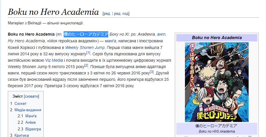 Моя геройська академія в Вікіпедії