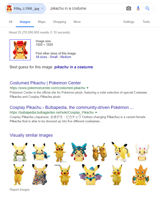 Finding Pikachu Plush to buy with Google Image Search