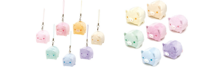Baby Boo colorful pig straps and plushies