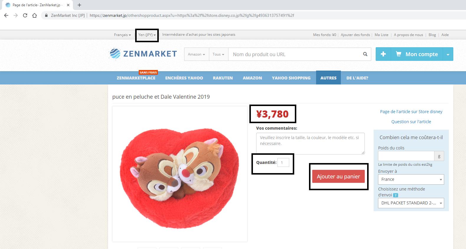 Disney store Japan - zenmarket - tutoriel