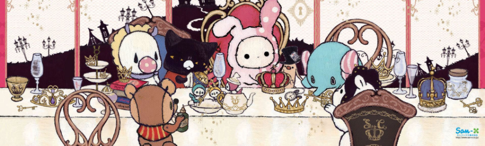 sentimental circus characters sitting round a table drinking tea