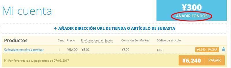 Añadir fondos en ZenMarket