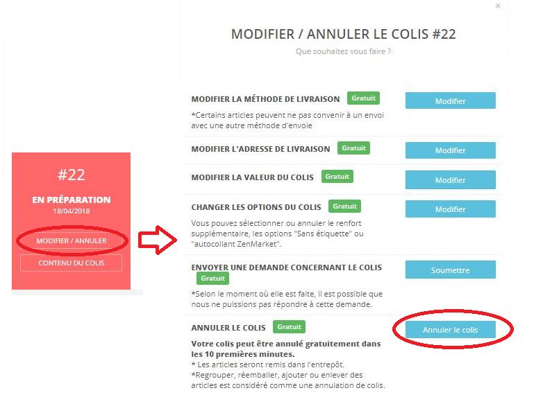 Annulation colis - zenmarket