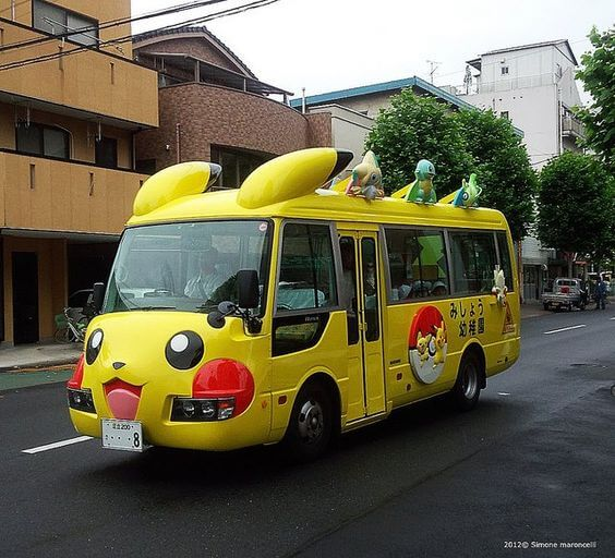 Japanese school bus is Pikachu