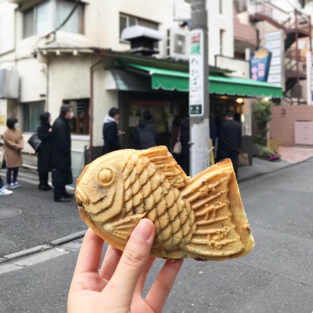 Taikyaki is a fish-shaped waffle filled with anko