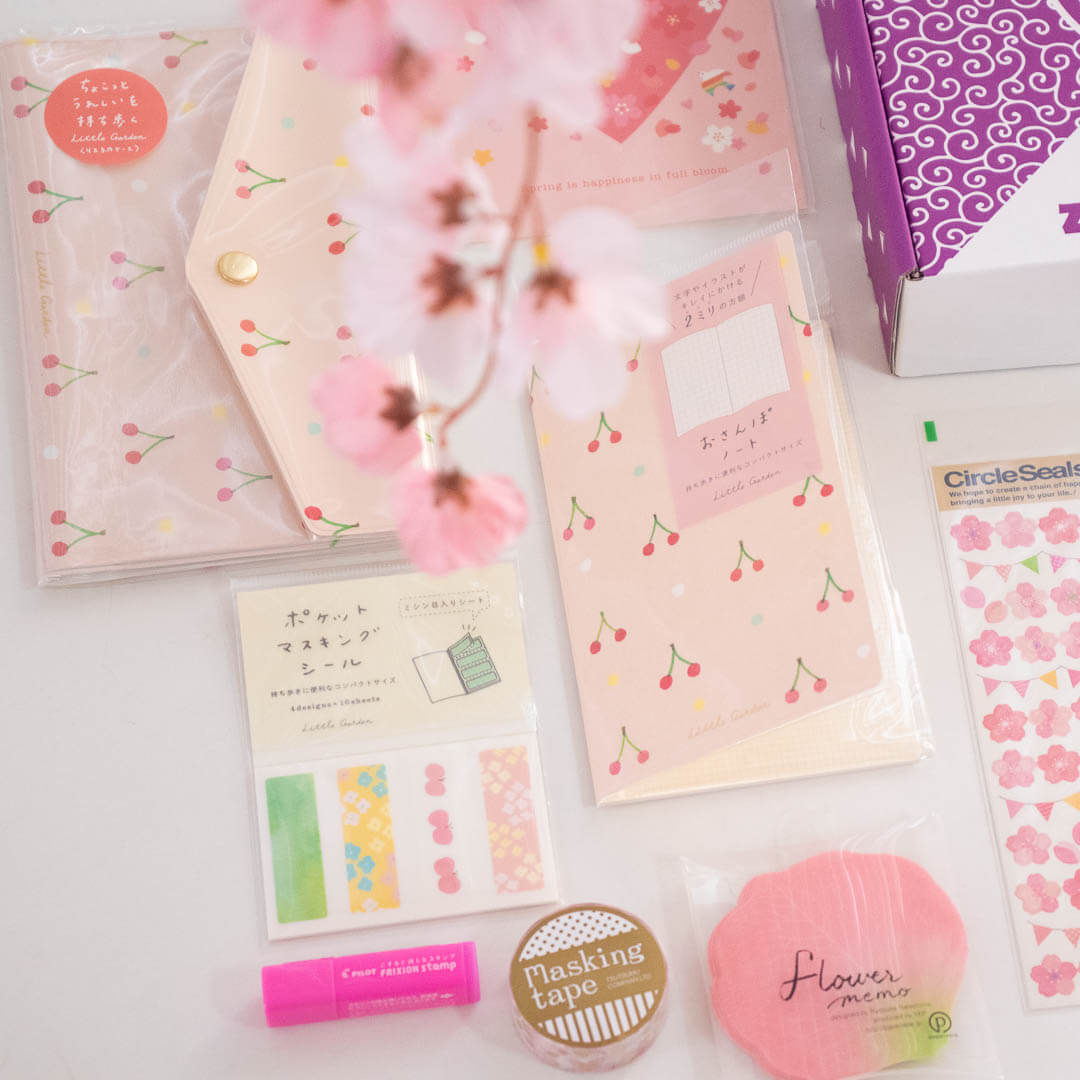 Ryu-Ryu 'Little Garden' items included in April's Sakura Japanese Stationery Pack
