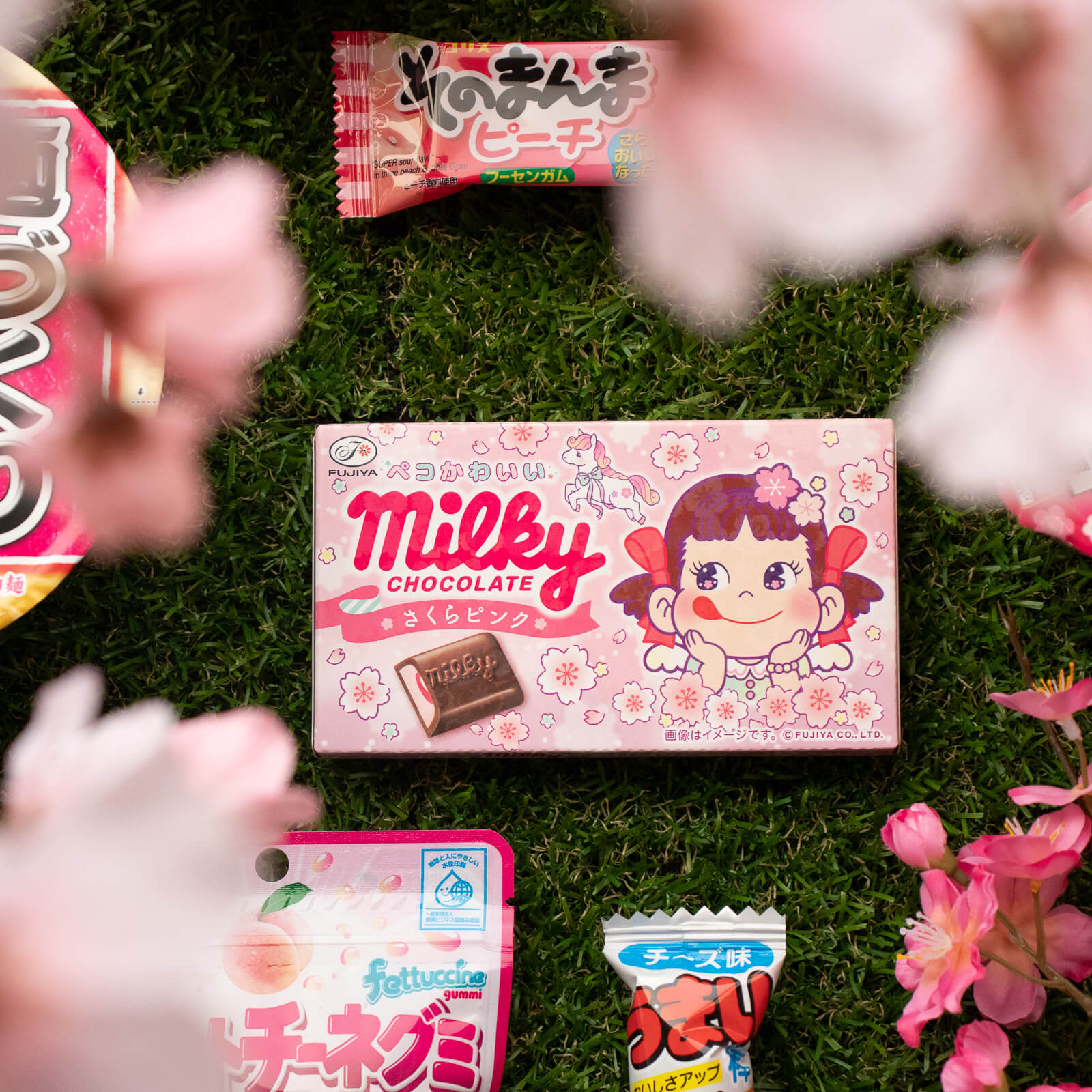 Milky's Pink Sakura Chocolate, included in Sweets & Ramen Mix Pack