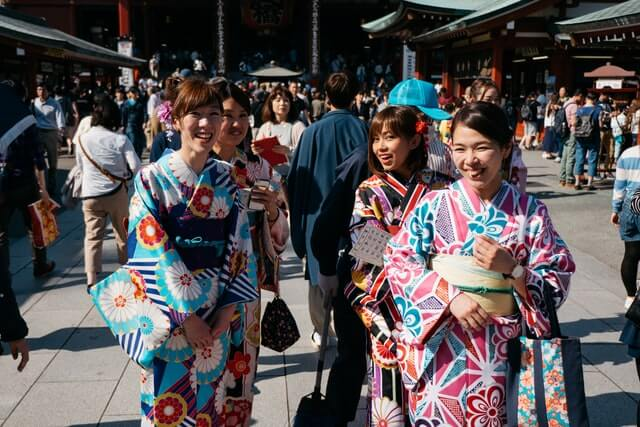 Young girls in yukata at Japanese Summer Festival