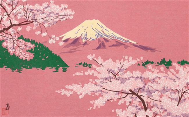 Sakura and Mt Fuji inspired artwork