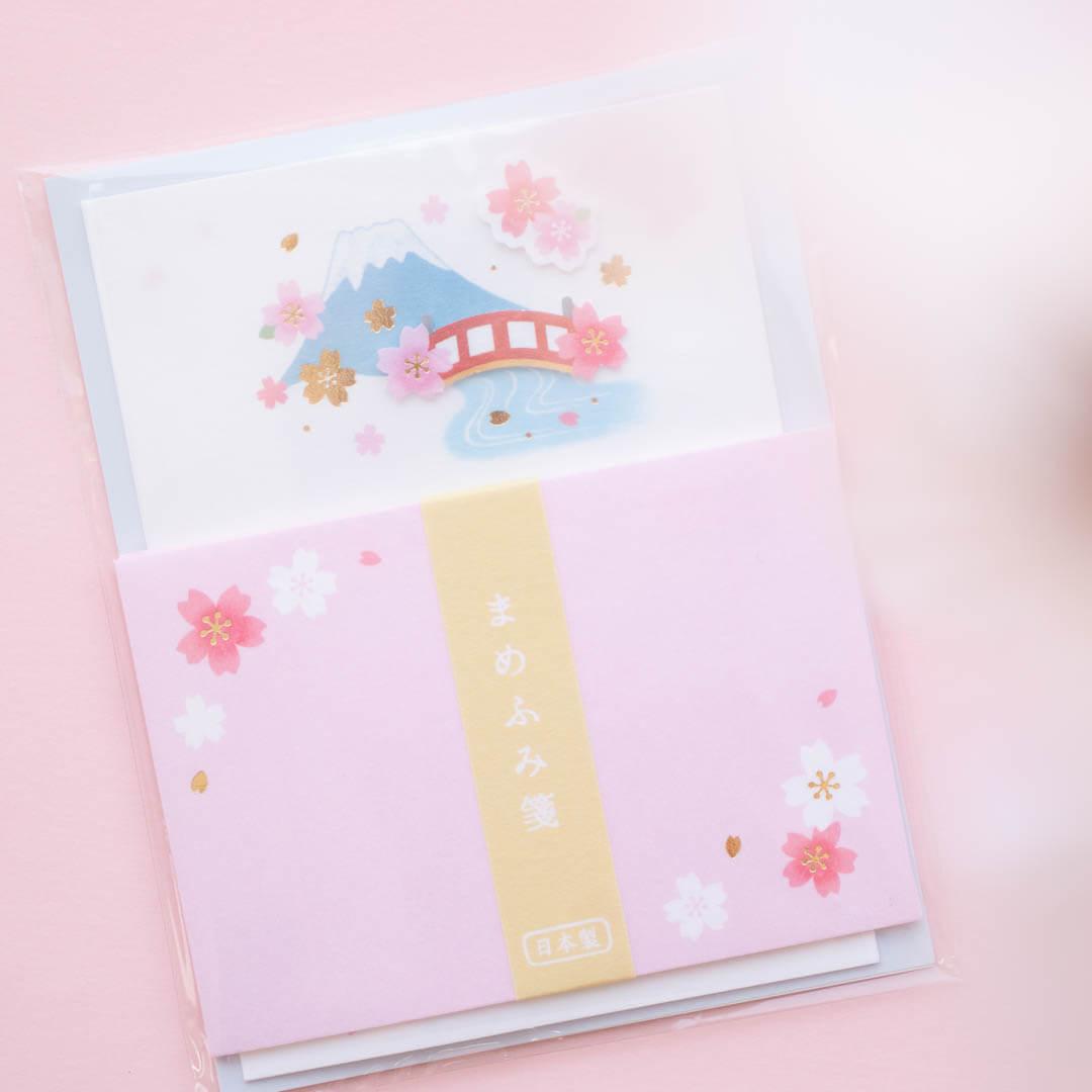 Sakura-themed Japanese letter set