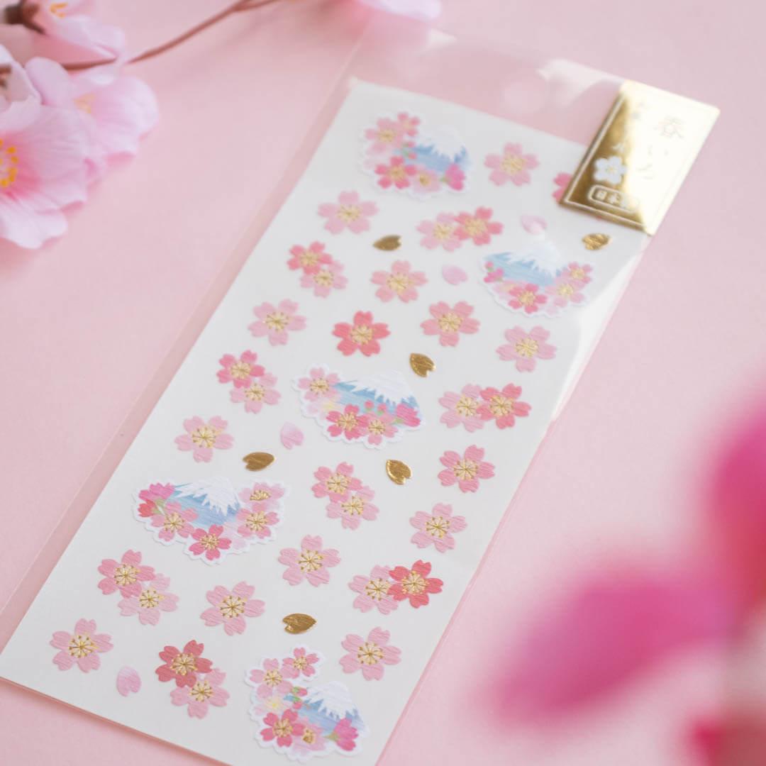 Cute sakura-themed stickers