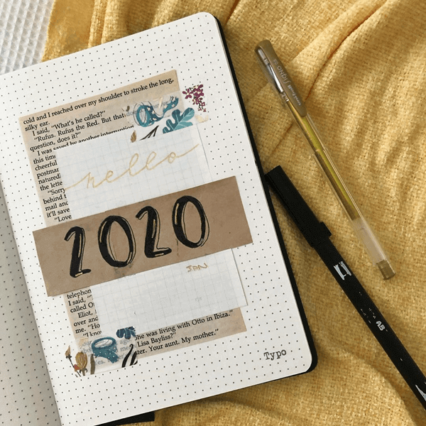 Image of bullet journal open to 2020 cover page