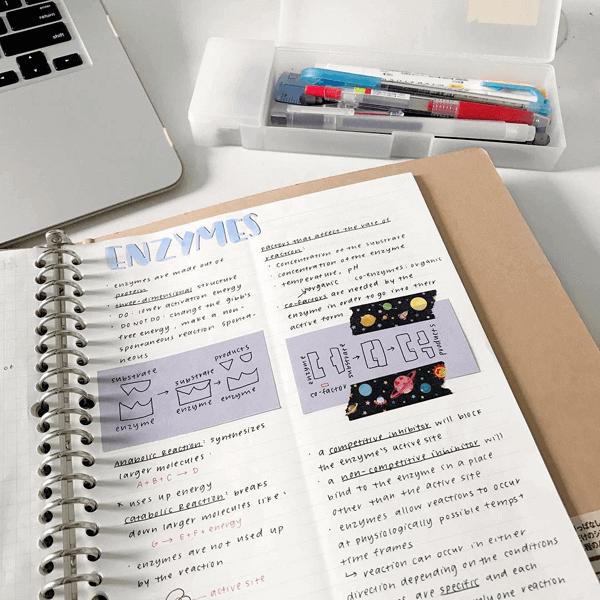 Study notes embellished with washi tape