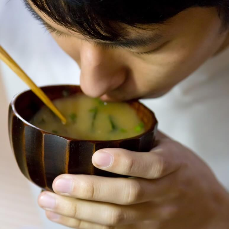 Miso soup is a Japanese cuisine staple
