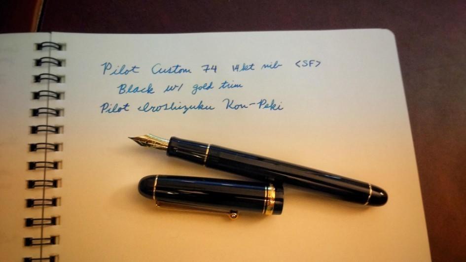 Pilot Custom 74 fountain pen calligraphy