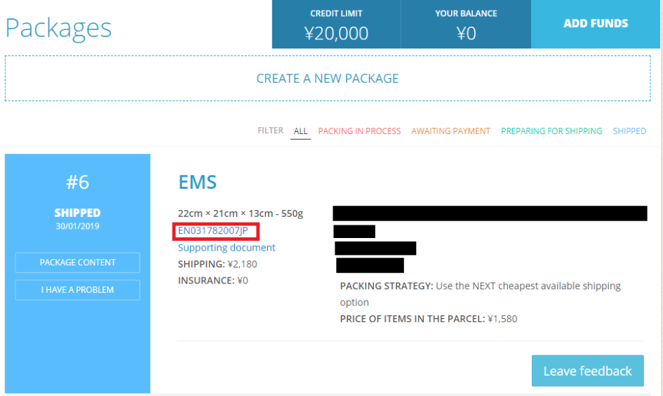 Where to find tracking number on ZenMarket