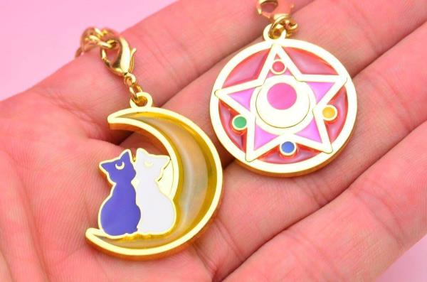 Set of six Sailor Moon stained charms